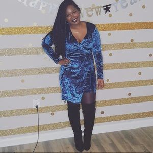 Blue Crushed Velvet Dress